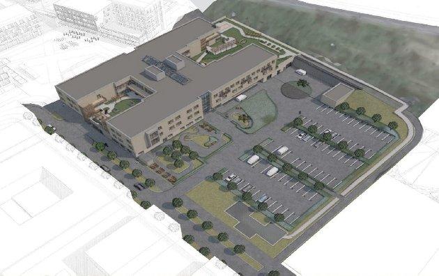 I LUNNER: Slik har Bølgeblikk arkitektur tegnet nye Lunner helse- og omsorgssenter.