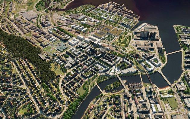 Slik ser en av arkitektfirmaet Asplan Viaks fremtidsvisjoner for Steinkjer sentrum ut. Alt er nok ikke realistisk, men Steinkjer er nødt til å fortsette å utvikle seg for å henge med, skriver Steinkjer-Avisas redaktør.
