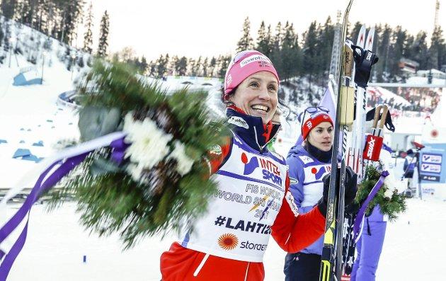 Nye ord og utrykk: Marit Bjørgen ble VM-dronningen i Lathi. Underveis i mesterskapet fanget også dagens Lørdag-skribent opp en rekke ny ord og utrykk som han hopper som ei klokke eller har skiene flatt under seg. Foto: NTB scanpix