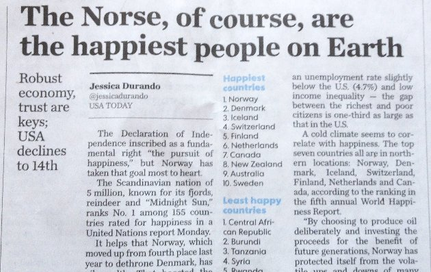 Lykkelige?: World Happiness Report har kåret Norge til det lykkeligste landet. I USA fikk dette stor oppmerksomhet og amerikanerne stiller spørsmål om hvorfor nordmenn er så lykkelige.