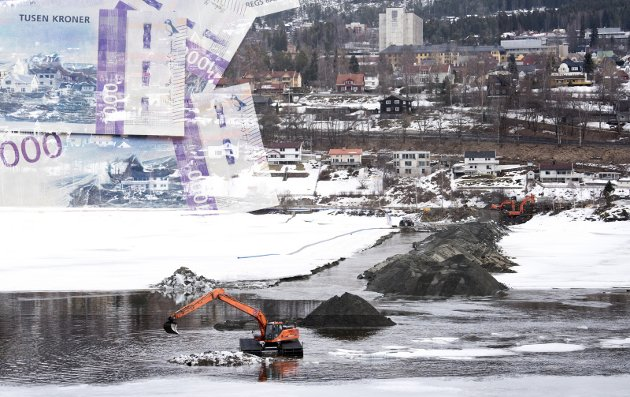 VAN(N)VITTIG DYRT: Kommunalt vann og avløp blir dobbelt så dyrt. Minst. (Arkivfoto fra legging av nye vann- og avløpsledninger over Lågen)