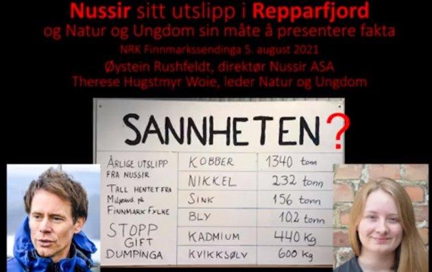 Plakat på scenen under debatt arrangert av Redd Repparfjorden der Øystein Rushfeldt var invitert debattant.