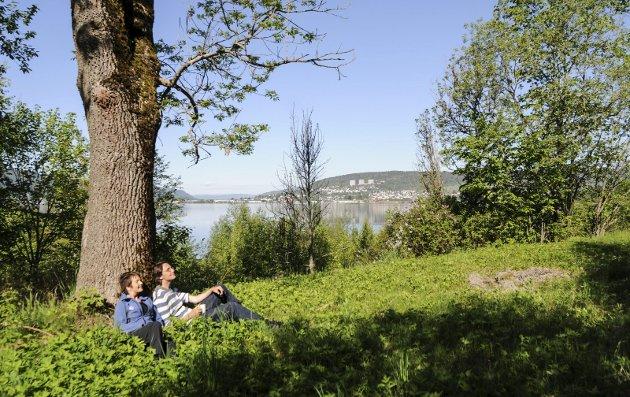Ønsker sterkere naturvern: Erik Jacobsen - her sammen med Pernille Rød Larsen - mener mye mer av de grønne områdene må bevares på Gullaug-halvøya.