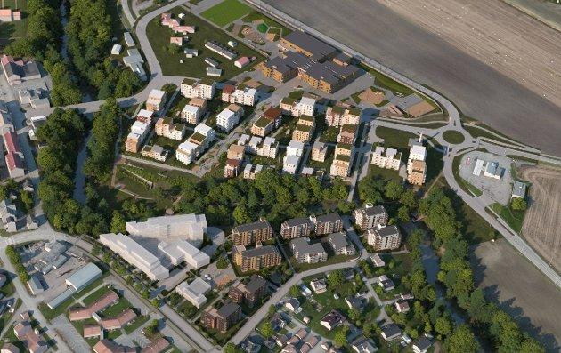 EKSTRA SIKRING: Det skal bygges nye sentrumsskoler og leiligheter like øst for Sandeelva. Holmestrand kommune tar nå en ny kvalitetssjekk med NGI for sentrumsområdene og elveleiet i Sande.