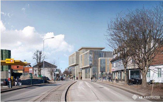 IKKE BRA: Det er nok å nevne bygningens silhuett; høyden, de store sprangene i formen og den voldsomme utkragningen i gaterommet. Dette er miljødrap, skriver arkitekt Øyvind Løken.