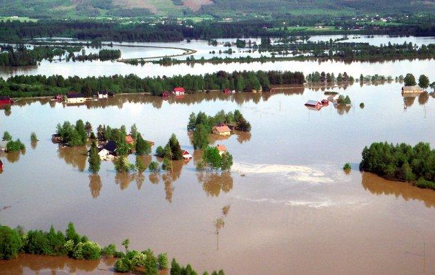 FLOMMEN I 1995: Flyfoto over Lauta i Åsnes, der mange ble sterkt berørt av flommens herjinger, blant annet ble et bolighus løftet av grunnmuren.