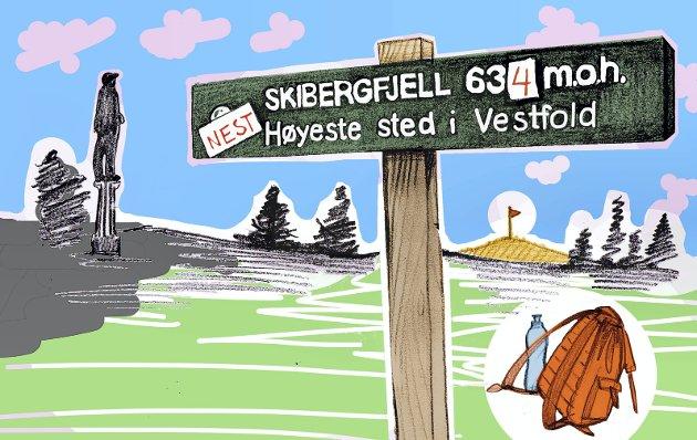 Vestfjellet: Eller «Bingtjennknatten», som fjellet også kalles, viser seg å være det høyeste i Vestfold. Illustrasjon: Marianne Karlsen