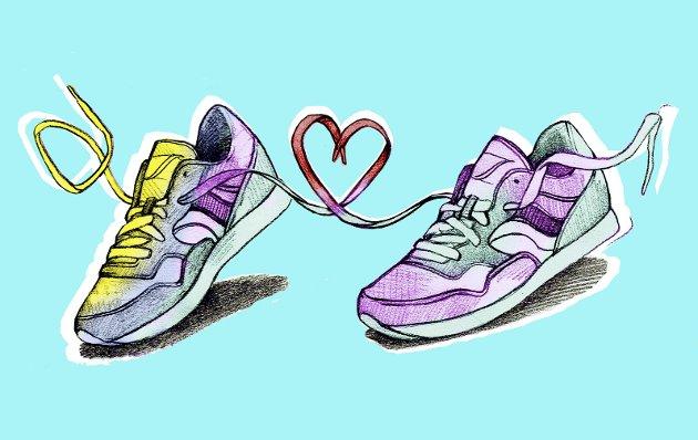 På med skoene: Enten du skal løpe langt, litt langt, kort, nesten ikke eller bare rusle rundt. Maratonlørdagen blir en folkefest. Illustrasjon: Marianne Karlsen