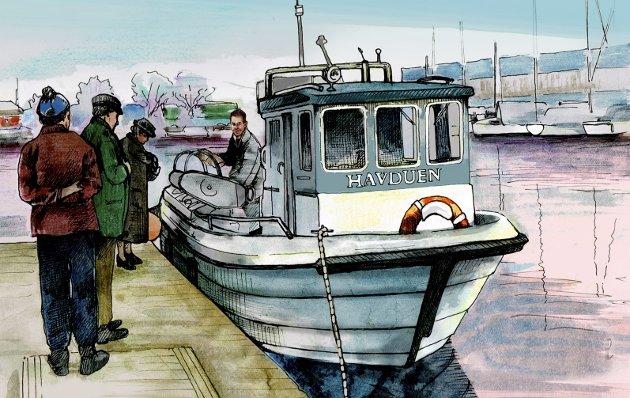Torskefiskeforbud? Trist hvis Havduen blir fritidsbåt, ikke fiskebåt. Et sosialt innslag ved bryggekanten som mange setter pris på. Illustrasjon: Marianne Karlsen