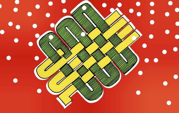 God jul fra lokalavisen: En riktig god jul til alle uansett hvordan den feires, og med hvem. Illustrasjon: Marianne Karlsen