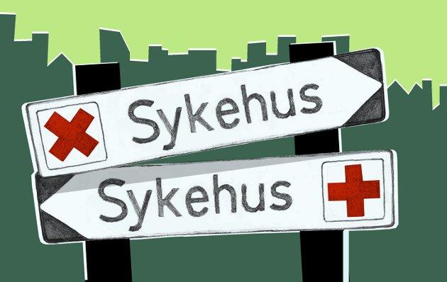 Hvor går veien? Til mitt sykehus: Er det sørover eller nordover? Illustrasjon: Marianne Karlsen