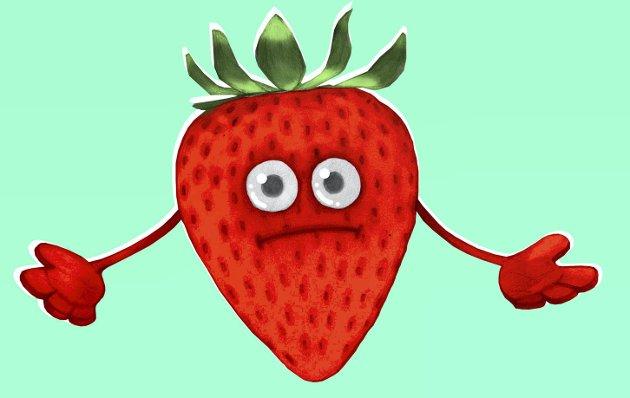 – Kom og plukk meg: Jordbæra modnes korona eller ikke. Vil det bli nok norsk arbeidskraft i åkeren? Illustrasjon: Marianne Karlsen