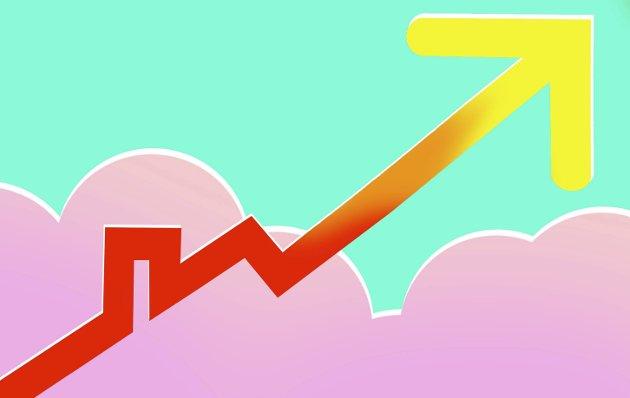 Rett til værs: Til høyt over pipa. Boligmarkedet i Holmestrand tar stadig nye millionsprang. Illustrasjon: Marianne Karlsen
