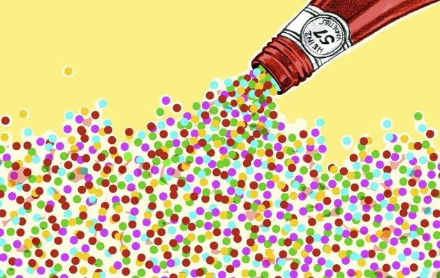 Plutselig kommer alt: Men i stedet for ketchup er det konfetti som drysser over Holmestrand. Illustrasjon: Marianne Karlsen