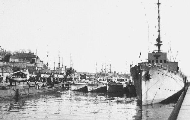 Illustrasjonsfoto: Norge under okkupasjonen, april 1940. Tyske krigsskip i Oslo havn.