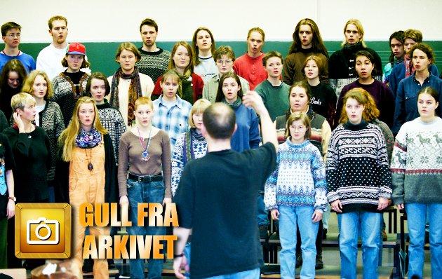 1993: Musikklinja ved Kongsbakken videregående skole øver på Händels Messias.