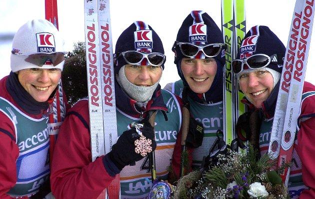 Lahti, Finland  VM på Ski  Elin Nilsen, Bente Skari, Hilde Gjermundshaug Pettersen og Det norske damestafettlaget