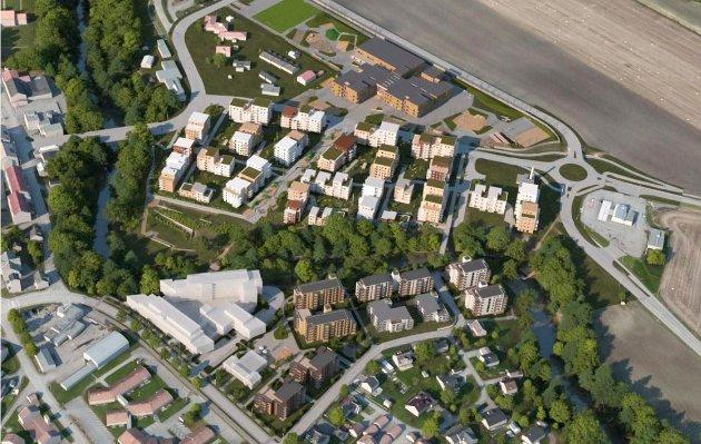 SLIK KAN DET BLI: Østlige del av Sande sentrum ligger foran en større forvandling. Sentrumsskolen er det store bygget mellom Magna Ottersens vei og den omlagte fylkesveien. Illustrasjon: Rambøll