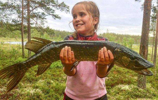 Beste smilet: Ingrid Hagberg fra Fetsund har vært på Finnskogen på fisketur og dro opp denne fine gjedda på 3, 5 kilo. Ikke rart fiskeinteressen får ny næring etter en slik fangst. «Ukas bilde» ble sikret med dette fotografiet.