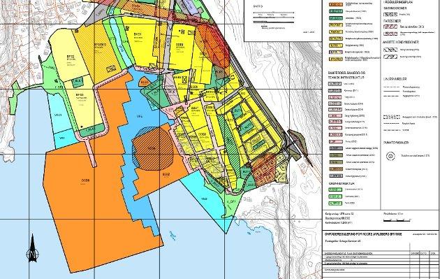 REGULERINGSPLAN: Utsnitt fra forslag til ny områdeplan for Nordre Jarlsberg Brygge, som nylig ble lagt fram for Hovedutvalg for regulering, kommunalteknikk og miljø.