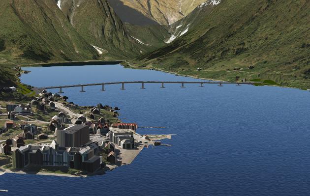 BRU OVER FJORDEN: Slik kan ei bru over Esefjorden bli sjåande ut.