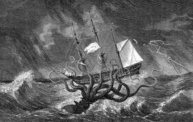 Kraken tror vi ikke lenger på, men et lignende og mer effektivt uhyre, oppdrettsnæringen, har erobret fiskegrunnene med langt større ødeleggende effekt, skriver Harald Kristiansen. (Illustrasjon fra Wikipedia)