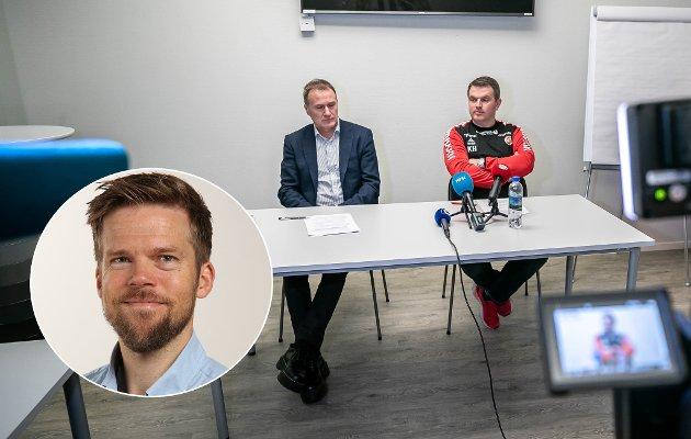 KJØPER IKKE FORKLARINGEN: Stig Bjørklund og Kristian Høydal skyldte på økonomi for at de fjerner Svein-Morten Johansen som sportssjef, men ville ikke nevne økonomi som forklaring for at de fortsetter med Simo Valakari som trener. Nordlys' sportsleder Anders Mo Hanssen (innfelt) mener det fremstår feigt og lite troverdig.