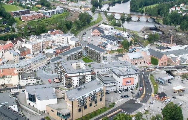 Slik skal Brutorget ta seg ut i bybildet når hele prosjektet er ferdig.