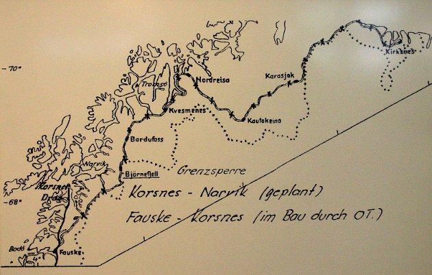 En foreslått forlengelse til Kirkenes, via en variant av fjellinjen