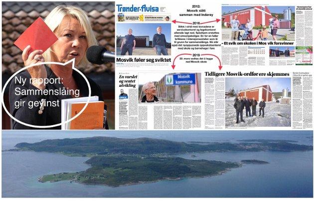 Med en ny rapport som omhandler Sandefjord, Inderøy og Harstad kommune (her fra Bjarkøy nederst) påstår Monica Mæland at sammenslåinger gir gevinst, men for hvem?