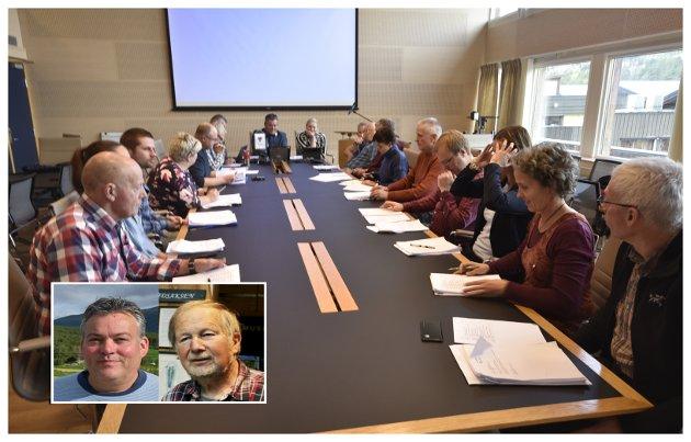 Torgeir T. Garmo (til høgre) er ikkje imponert over hva ordførar Bjarne E. Holø og partnerane har fått til av kvinnerepresentasjon i Loms-politikken.