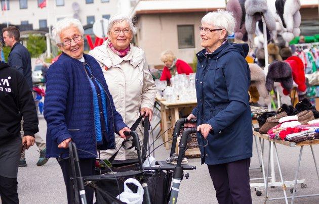 RULLATORGJENGEN: Arna (85), Borghild (86) og Karen (86) kaller seg selv for rullatorgjengen. De koser seg ute i Vadsøs gater under festivaldagene, og forteller om et fint folkeliv. - Det har vært fint vær, men litt kaldt, sier de fornøyde.