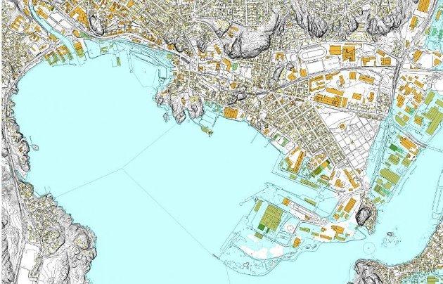 2,5 meter: Dette kartet gjør et forsøk på å fremstille Larvik slik byen vil se ut hvis havnivået stiger 2,5 meter.