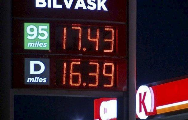 Dyrt: Oslo-priser på drivstoff tidlig i januar. I Larvik har vi ikke kommet så høyt.