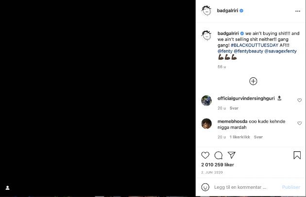 Mange viser sin støtte til ulike saker gjennom sine sosiale medier, også store stjerner. Her er en post Rihanna la ut i forbindelse med Black Lives Matter-bevegelsen.