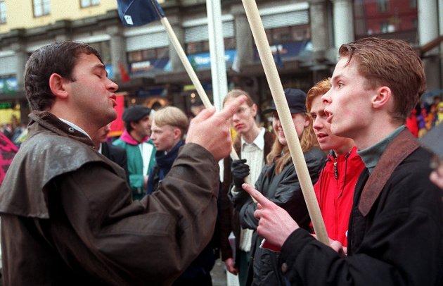 Det oppsto diskusjon mellom ungdomspolitikere i 1997. Unge Høyre var på plass, og det falt ikke i god jord hos alle.