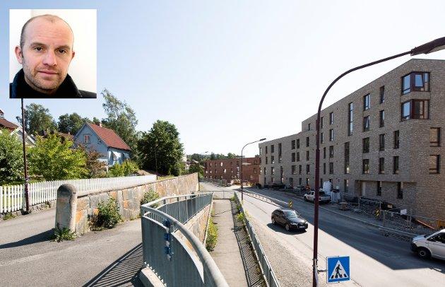 FORTETTING: Mesnakvartalet er et eksempel på et nybygg som er helt ute av skala og estetisk sett et klart brudd på, ikke konsolidering av, «byens egenart».Ansvaret ligger hos kommunen, skriver arkitekt Gaute Brochmann.