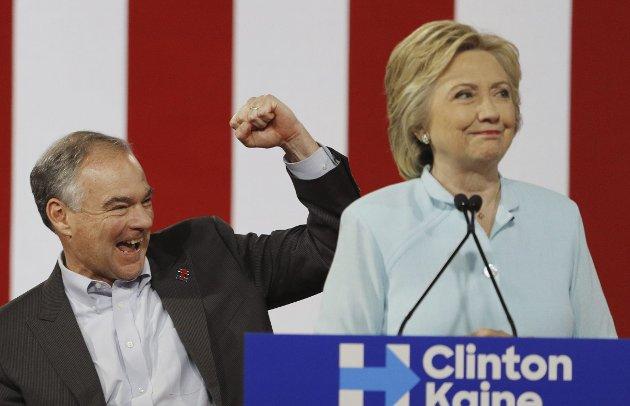 Tilbake på sporet: Hillary Clinton og visepresidentkandidat, Tim Kaine.