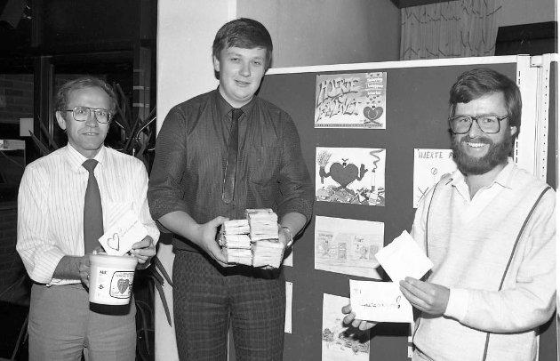 TV- aksjon høsten 1987 (hjerte for livet) Avbildet er Jens Erik, Gunnar Gudim og Ivar Ånesland