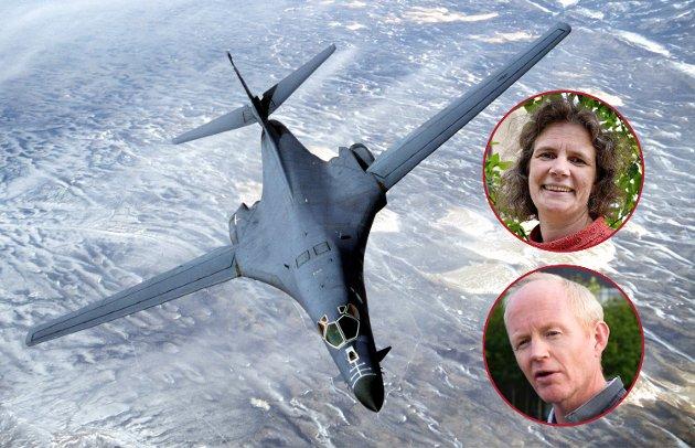 Øving med bombefly fra norske flyplasser, og USA-soldater fast stasjonert på Værnes, er et klart brudd på norsk basepolitikk, skriver Siv Furunes og Lars Haltbrekken (SV)