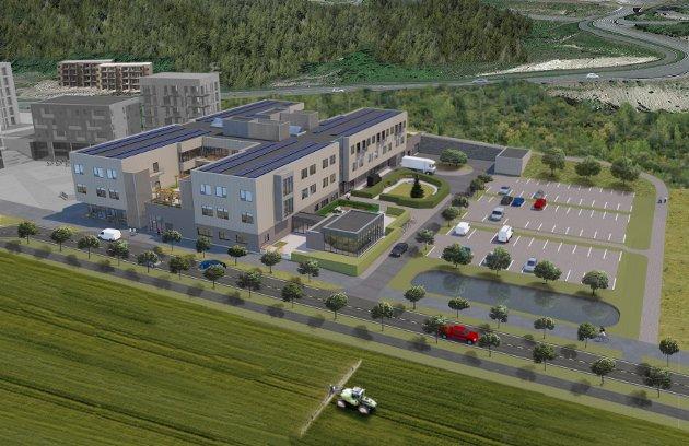 VINTERHAGE: Slik er det nye helse-og omsorgssenteret planlagt på Harestua. Det lille tilbygget i glass er en vinterhage. Bygget bak til høyre for senteret er en vaskehall for hjemmetjenestens biler.