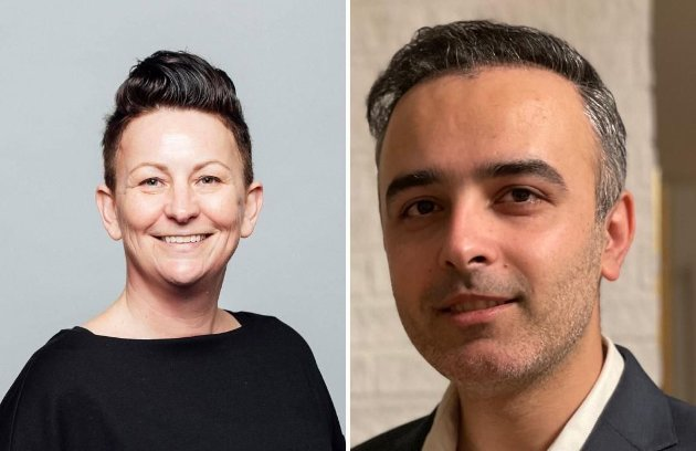 Åse Kristina Heien og Barham Azadi, stortingskandidater for Østfold SV. (Foto: Privat)