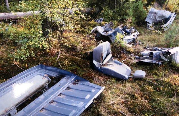 Tor Fredriksen kom over dette gamle bilinventaret som ligger strødd i terrenget.