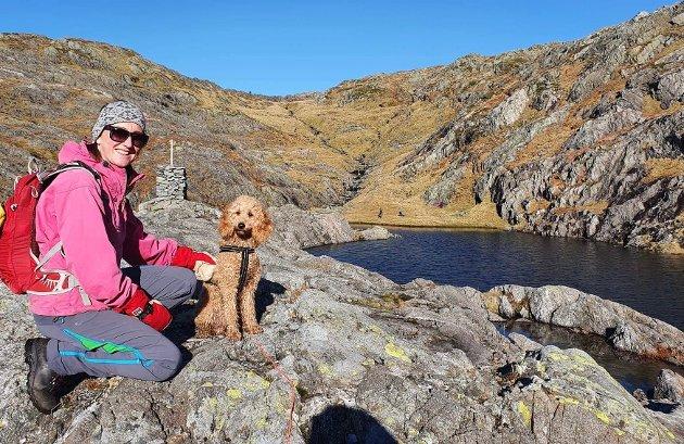 Kristine Askvik på fjellet med lånt hund. Nå har hun skrevet en sang om jakten på sin egen hund.