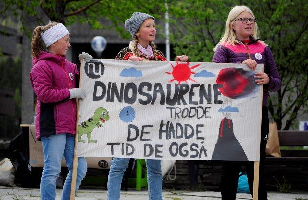 F.v Margit Onstad, Eva Hoffmann og Mari Skattebo droppa skulen for klimaet på fredag. - Eg streikar fordi eg syns politikarane ikkje gjer nok. Eg vil at vi skal bli høyrt og tatt på alvor, seier Eva.