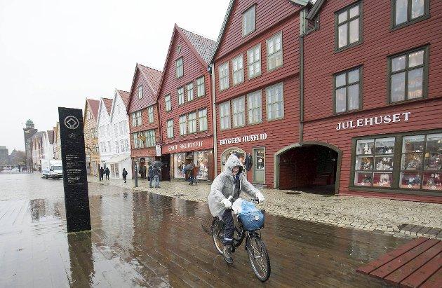Du skal være ganske tøff for å sykle i Bergen. Illustrasjonsfoto.