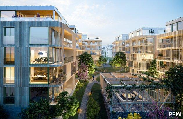 Arkitekt og juryformann Martin Ebert mener utbygger har valgt en spennende å modig løsning som åpner opp kvartalet hvor Byhaven er planlagt. (Illustrasjon: Mad Arkitekter)