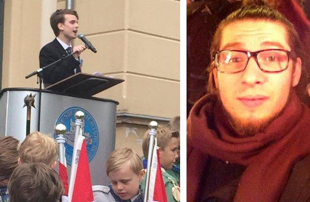 Til venstre er Jakob Semb Aasmundsen mens han holder sin 17. mai-tale. Til høyre er Salvatore Matias Messina, som lar seg provosere av de negative kommentarene under, og etter, talen.