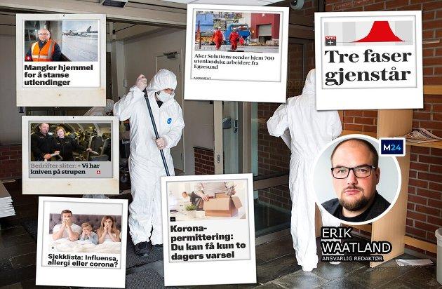 «Irriterer du deg over å måtte betale for journalistikk om virusutbruddet? Her er forklaringen», skriver Erik Waatland. (Foto: NTB / montasje)