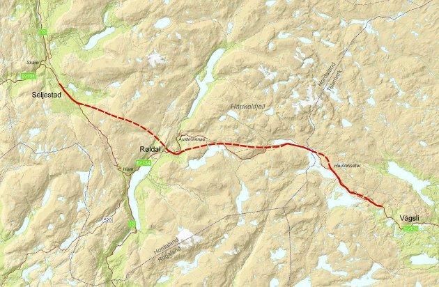 MÅLET: Nå nærmer vi oss ny tunnel fra Seljestad til Røldal, men neste trinn til Vågsli er like viktig. KART: STATENS VEGVESEN